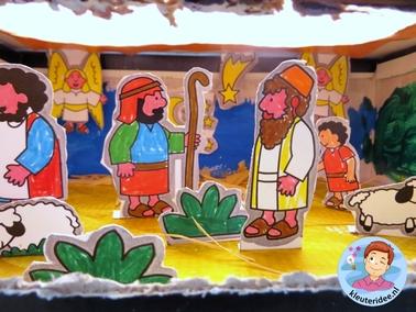 Kijkdoos kerst voor kleuters, kleuteridee.nl, free printable