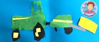 Tractor met balenperser, kleuteridee, thema de koe, Kindergarten cow theme, tractor craft 3.