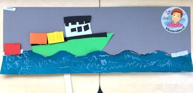 Containerschip maken met kleuters, kleuteridee, thema de haven 2