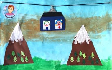 Bergen collage met kabelbaan, knutselen met kinderen, mountains craft 4k, kleuteridee