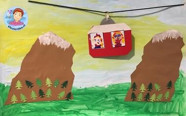 Bergen collage met kabelbaan, knutselen met kinderen, mountains craft 3k, kleuteridee