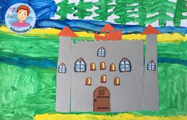 kasteel knippen en plakken, thema ridders, kleuteridee, knights theme kindergarten craft 3