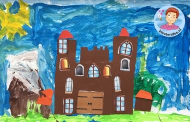 kasteel knippen en plakken, thema ridders, kleuteridee, knights theme kindergarten craft 4
