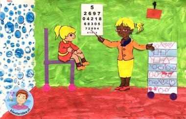 Opticien knutselen met kleuters, kleuteridee, thema het oog, kindegarten optician craft, eye theme 3.