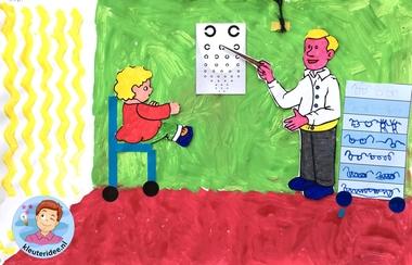 Opticien knutselen met kleuters, kleuteridee, thema het oog, kindegarten optician craft, eye theme 2.