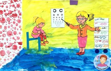 Opticien knutselen met kleuters, kleuteridee, thema het oog, kindegarten optician craft, eye theme.