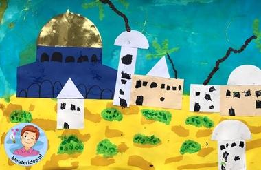 Jeruzalem collage knutselen, Kindergarten Jerusalem craft, kleuteridee 3
