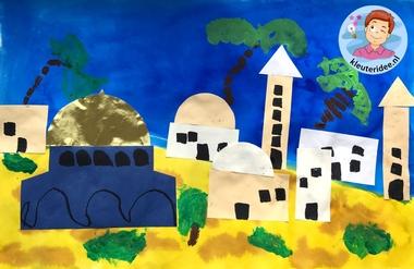 Jeruzalem collage knutselen, Kindergarten Jerusalem craft, kleuteridee