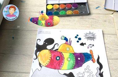 3d kleurplaten bij thema de haven, Magic Dadoo, kleuteridee