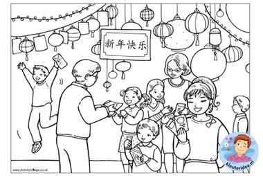 kleurplaat, Chinese nieuwjaars cadeautjes, colorpage chinese new year gifts, kleuteridee.nl
