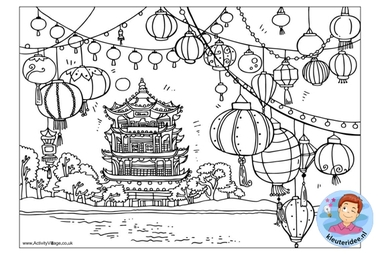 kleurplaat, Chinese pagode, colorpage chinese pagode, kleuteridee.nl