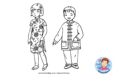 kleurplaat, Chinese kinderen, colorpage chinese kids,, kleuteridee.nl