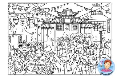 kleurplaat, Chinese nieuwjaar, colorpage chinese new year, kleuteridee.nl