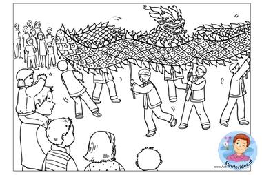 kleurplaat, Chinese nieuwjaars drakendans, colorpage chinese new year dragon dance, kleuteridee.nl