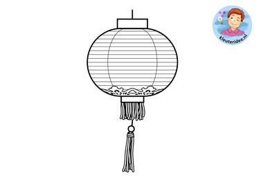 kleurplaat, Chinese lantaarn, colorpage chinese lantern, kleuteridee.nl