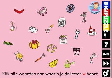 Kleuteridee.nl, Interactief letterspel bij de letter w voor kleuters, voor tablet, computer en digibord