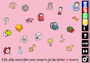 Kleuteridee.nl, Interactief letterspel bij de letter m voor kleuters, voor tablet, computer en digibord