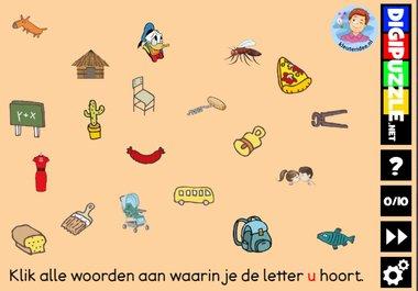 Kleuteridee.nl, Interactief letterspel bij de letter u voor kleuters, voor tablet, computer en digibord