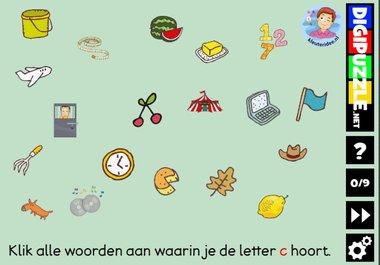 Kleuteridee.nl, Interactief letterspel bij de letter c voor kleuters, voor tablet, computer en digibord