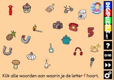 Kleuteridee.nl, Interactief letterspel bij de letter f voor kleuters, voor tablet, computer en digibord