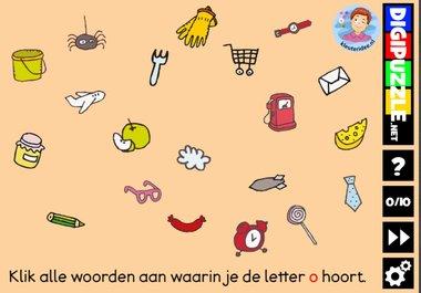 Kleuteridee.nl, Interactief letterspel bij de letter o voor kleuters, voor tablet, computer en digibord