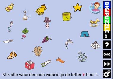 Kleuteridee.nl, Interactief letterspel bij de letter r voor kleuters, voor tablet, computer en digibord