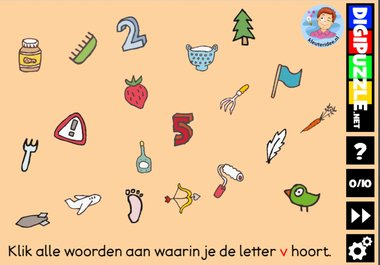 Kleuteridee.nl, Interactief letterspel bij de letter v voor kleuters, voor tablet, computer en digibord