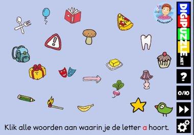 Kleuteridee.nl, Interactief letterspel bij de letter a voor kleuters, voor tablet, computer en digibord