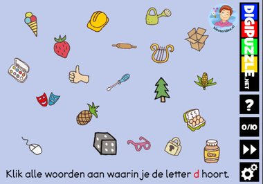 Kleuteridee.nl, Interactief letterspel bij de letter d voor kleuters, voor tablet, computer en digibord