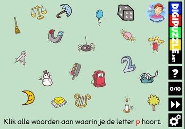 Kleuteridee.nl, Interactief letterspel bij de letter p voor kleuters, voor tablet, computer en digibord