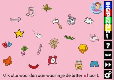 Kleuteridee.nl, Interactief letterspel bij de letter s voor kleuters, voor tablet, computer en digibord