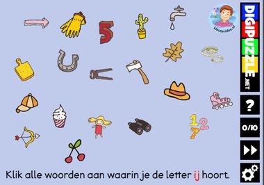 Kleuteridee.nl, Interactief letterspel bij de letter ij voor kleuters, voor tablet, computer en digibord