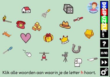 Kleuteridee.nl, Interactief letterspel bij de letter h voor kleuters, voor tablet, computer en digibord