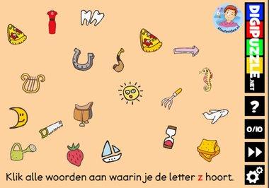 Kleuteridee.nl, Interactief letterspel bij de letter z voor kleuters, voor tablet, computer en digibord