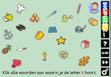 Kleuteridee.nl, Interactief letterspel bij de letter k voor kleuters, voor tablet, computer en digibord