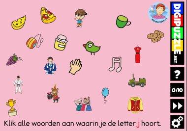 Kleuteridee.nl, Interactief letterspel bij de letter j voor kleuters, voor tablet, computer en digibord