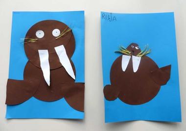 Walrus knippen en plakken, kleuteridee.nl , thema Noordpool & Zuidpool voor kleuters