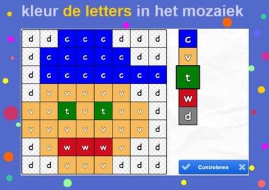kleur de letters in het mozaiek, letters aanbieden aan kleuters, kleuteridee