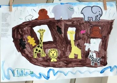 De ark van Noach 2, thema dierentuin, kleuteridee.nl , Noah's Ark, preschool craft.