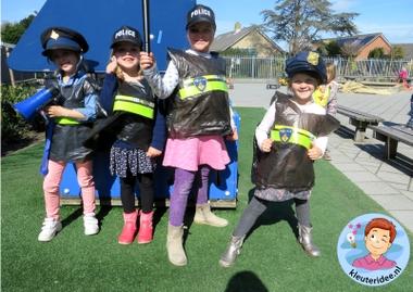 Politiehes knutselen met kleuters 4, met gratis download, Kindergarten police theme, kleuteridee
