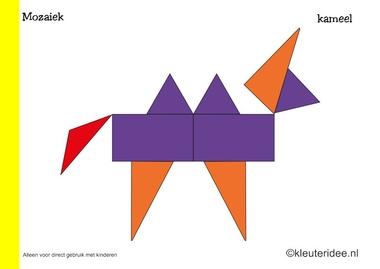 Mozaiek voorbeeldkaarten voor kleuters 4, kameel, kleuteridee.nl , Preschool mosaic patterns, free printable.