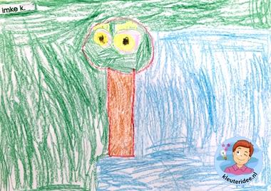 Teken een fantasie-oog met kleuters, kleuteridee, thema het oog, Kindergarten eye theme 3.