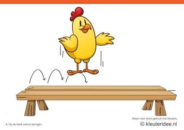 Bewegingskaarten kip voor kleuters 6, op de bank vooruit springen , kleuteridee.nl , thema Lente, Movementcards for preschool, free printable.