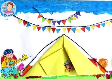 Collage thema camping 6 met kleuters, kleuteridee.nl, voor free printables zie de website.