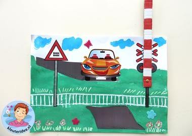 Overweg knutselen 2, kleuteridee.nl, met gratis download, railway craft
