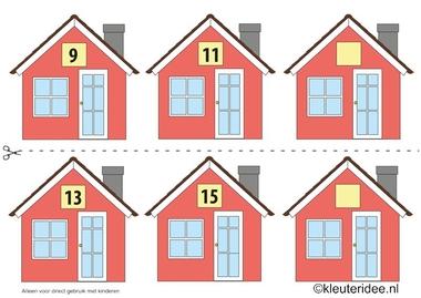 CITOvaardigheden voor kleuters, Welk nummer heeft het huisje in de straat oneven nrs 2, kleuteridee.nl , What number is the house in the street, free printable.