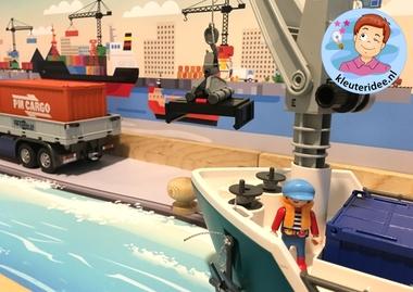 Thematafel de haven 9 , kleuteridee, kindergarten port theme with boats
