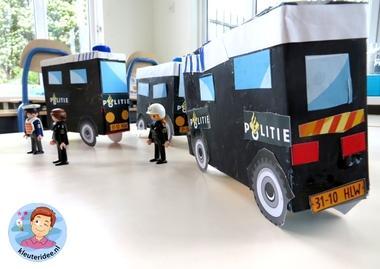 Busje van de Mobiele eenheid knutselen (ME) 2, thema politie, kleuteridee.nl, met gratis downloads