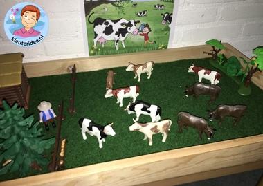 Thematafel 'de koe',voor kleuters, Kindergarten cow theme, kleuteridee.nl