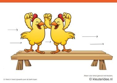 Bewegingskaarten kip voor kleuters 8, Hand in hand zijwaarts over de bank lopen , kleuteridee.nl , thema Lente, Movementcards for preschool, free printable.